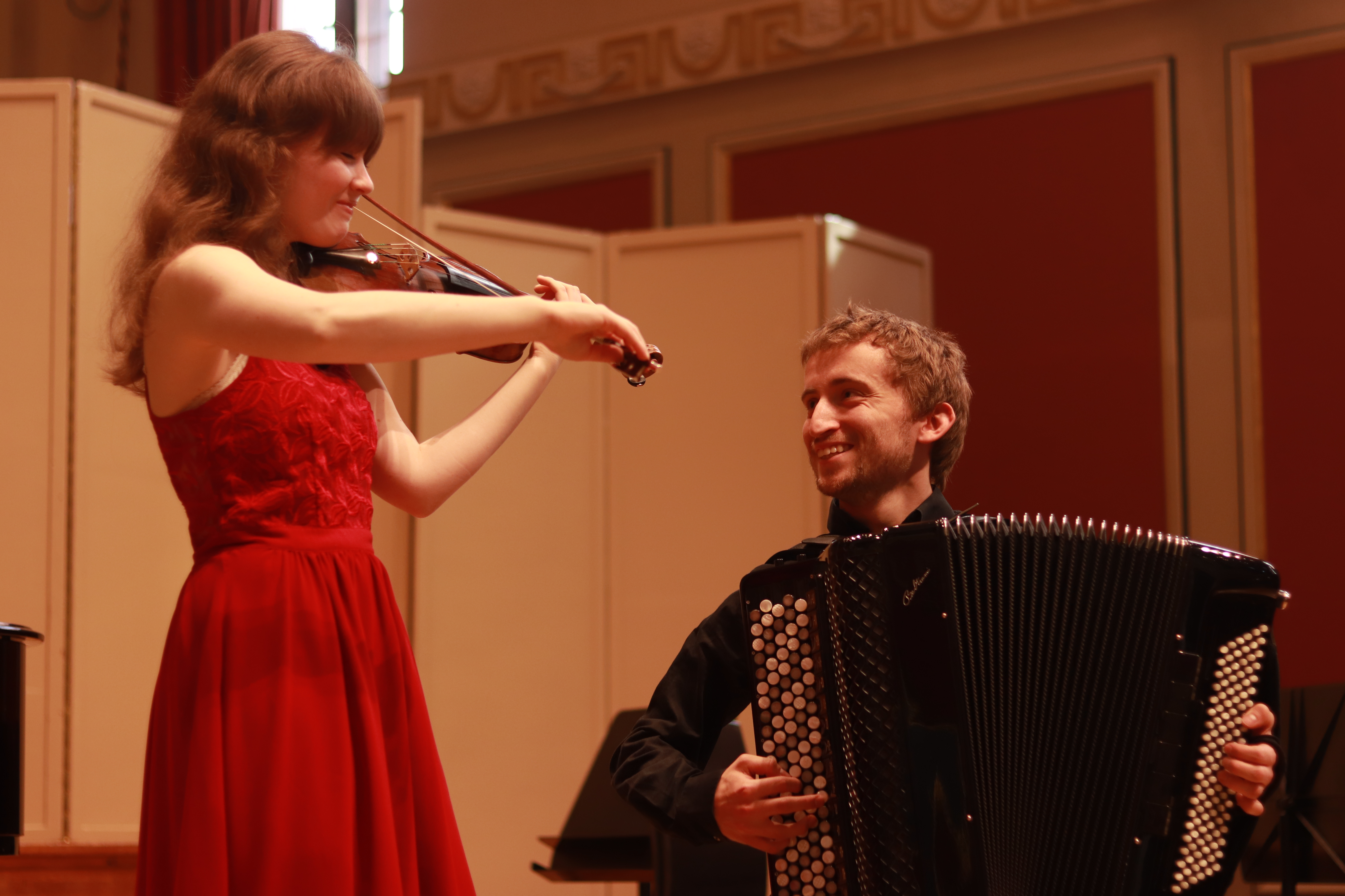 Accordionist Ben De Souza and violinist Chloe Meade who will be performing at the New Room on Friday 11th October 2019