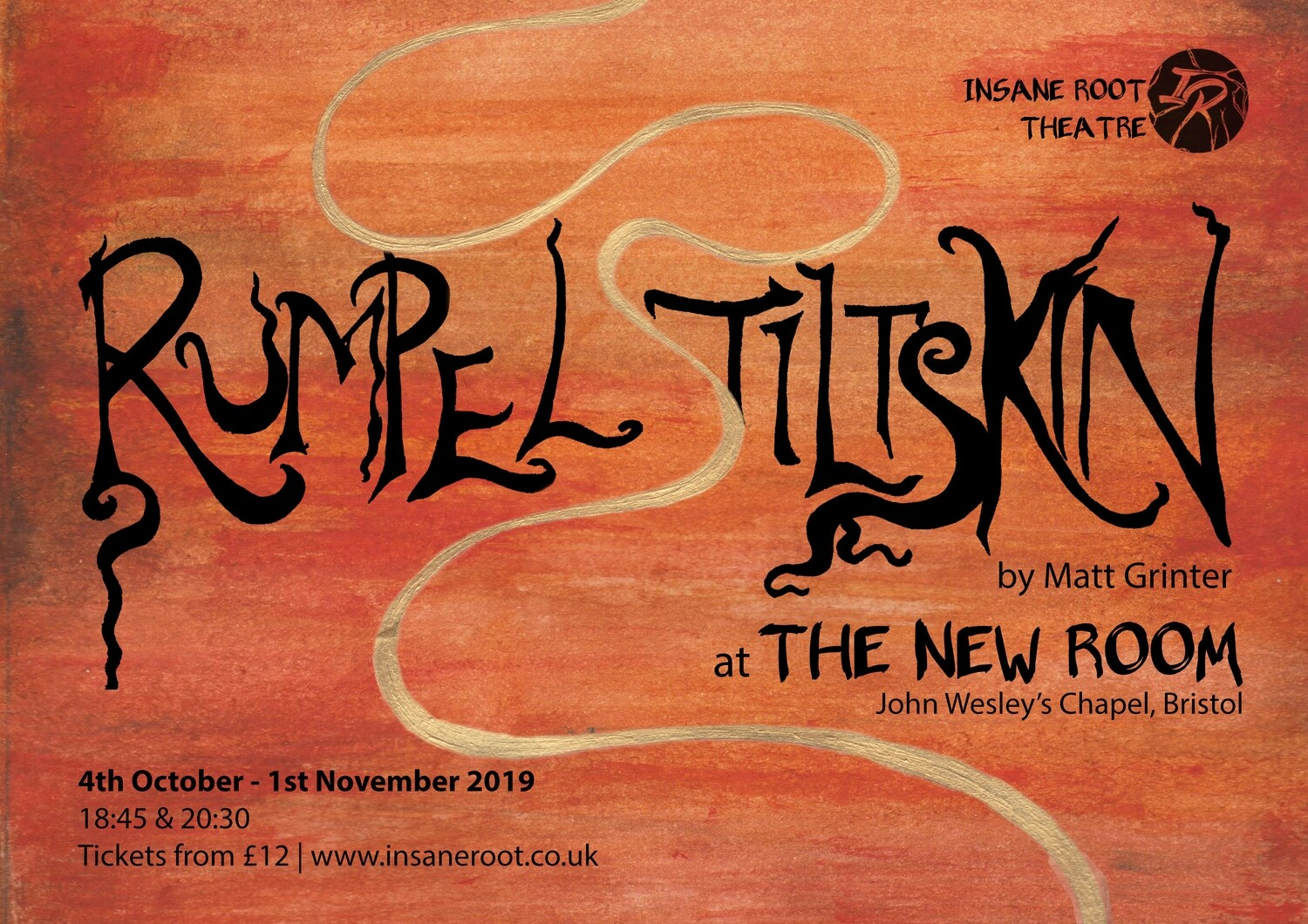 Logo for Insane Root's immersive performance at the New Room Bristol 4th October-1st November 2019