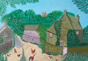 Tony Jackson Acrylic Painting of Chickens